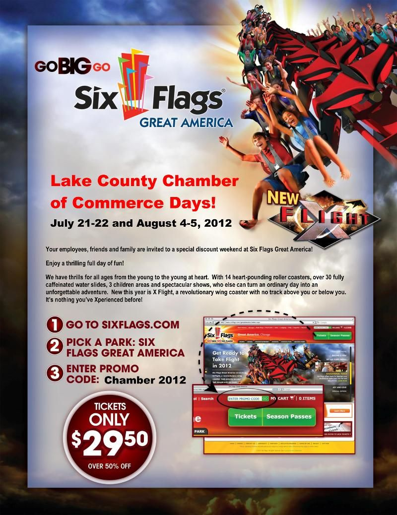 50 Discount On Six Flag Tickets Follow The Instructions Have A Great Time This Weekend Six Flags Lake County Great America
