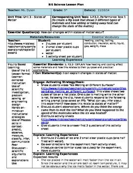 5e science lesson plan states of matter 5th grade for Constructivist lesson plan template