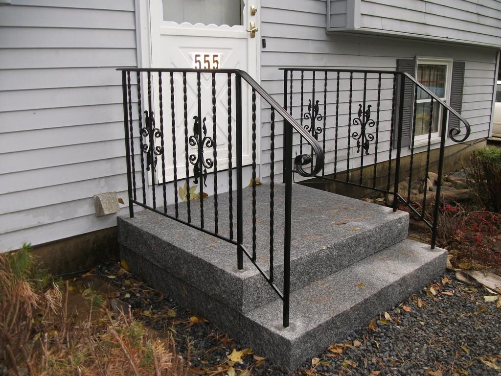 Exterior : Divine Outdoor Front Stair With White Wooden Railing .
