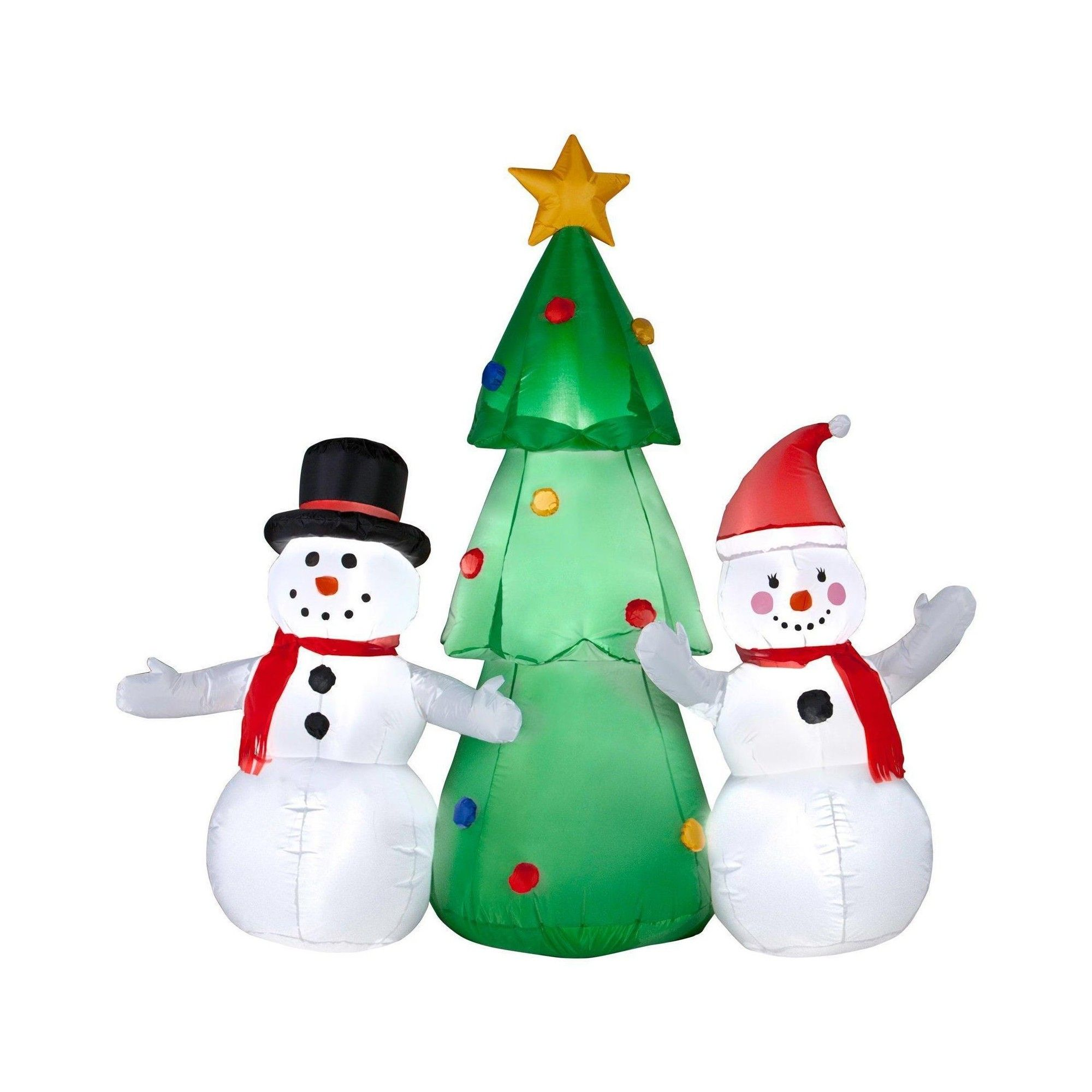 5ft Inflatable Snowman Family and Christmas Tree, Multi-Colored ...