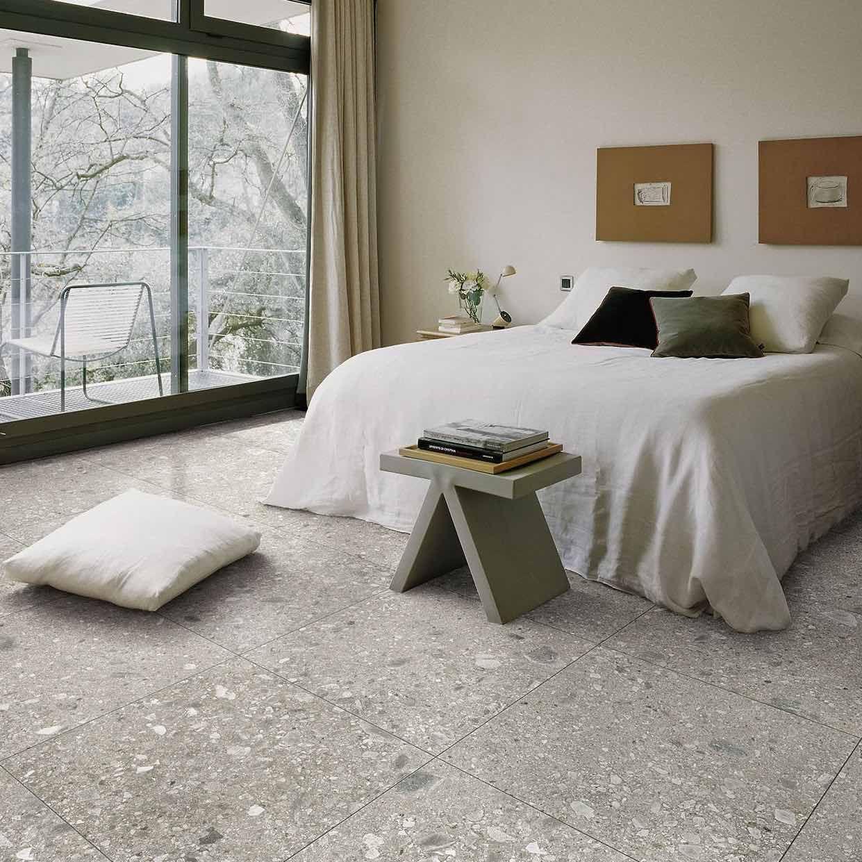 Grey Stone Effect Tiles Tile Bedroom Luxurious Bedrooms Bedroom Flooring