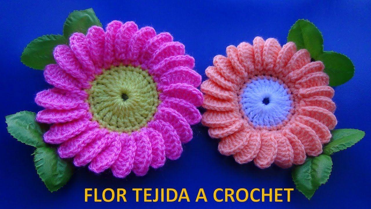 Flor margarita tejida a ganchillo # 6 paso a paso fácil de tejer ...