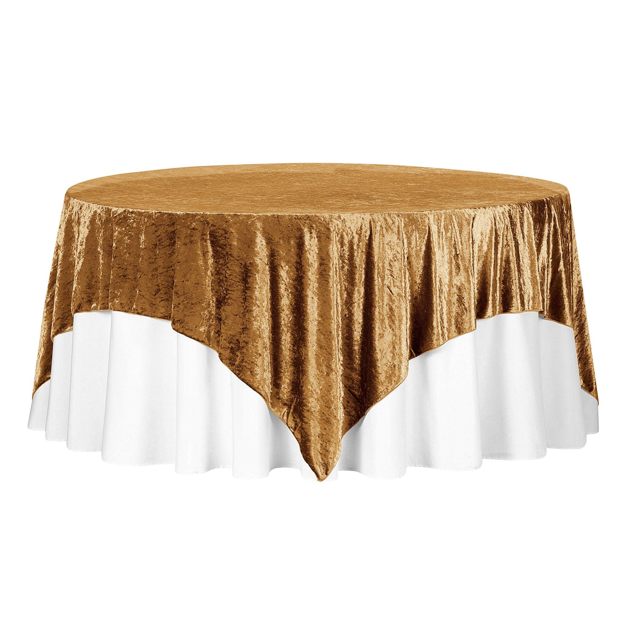 Velvet 85 X85 Square Tablecloth Table Overlay Mustard Gold In 2020 Table Overlays Square Tablecloth Event Decor Direct