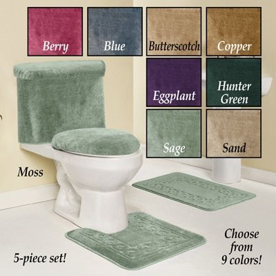 Bathroom Scroll Rug Set 5pc Rug Sets Toilet Tank Cover Small