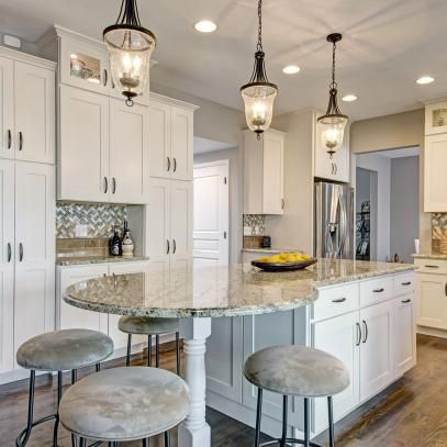 beautiful remodeled kitchen features elongated kitchen island chevron backsplash chic cabine on kitchen island ideas india id=50400