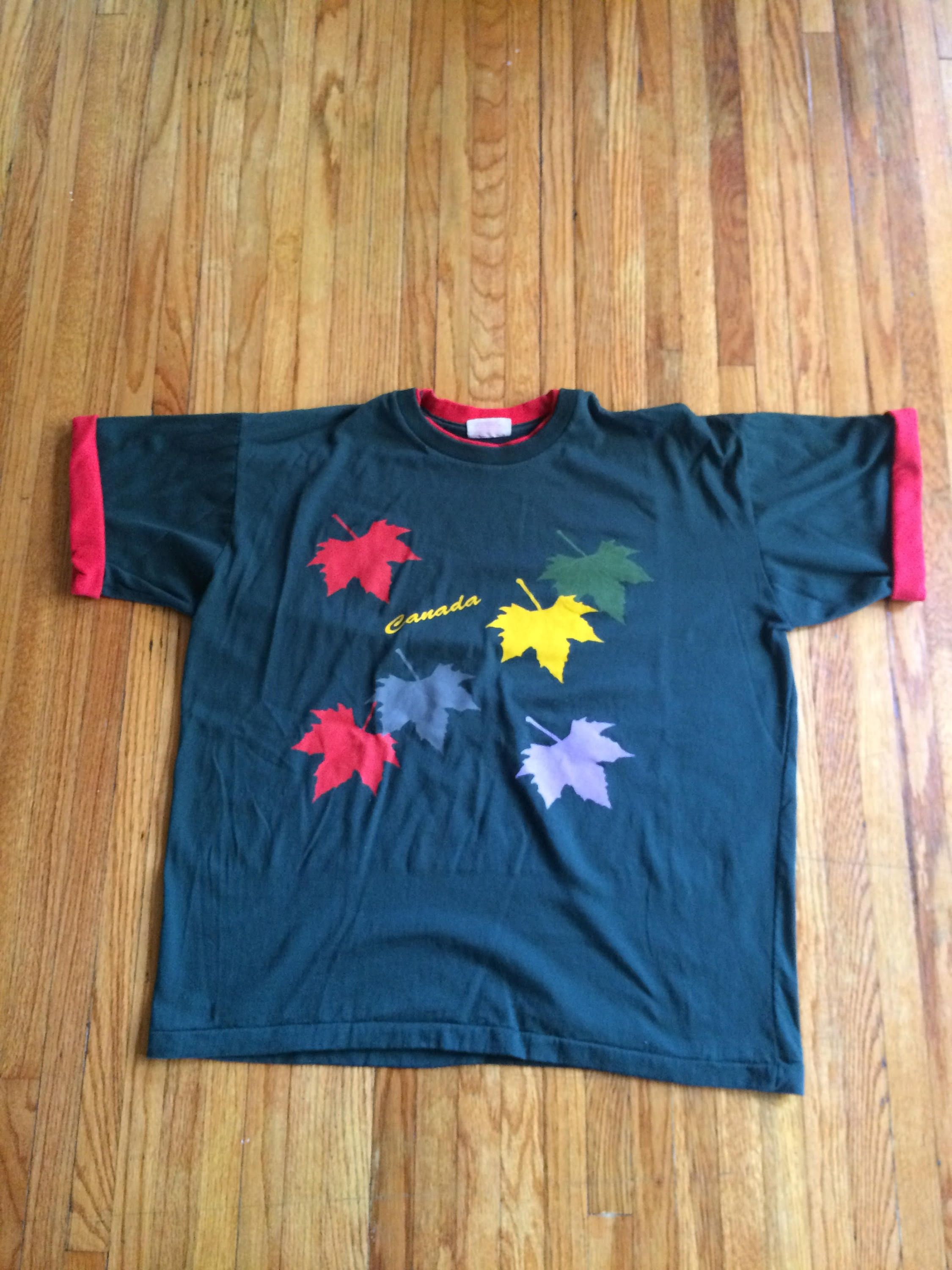 latest design designer fashion check out Vintage Canada Oversize Rolled Sleeve Maple Leaves T-Shirt ...