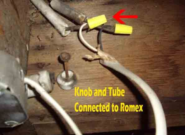 Knob And Tube Wiring Improperly Connected To Romex Cable
