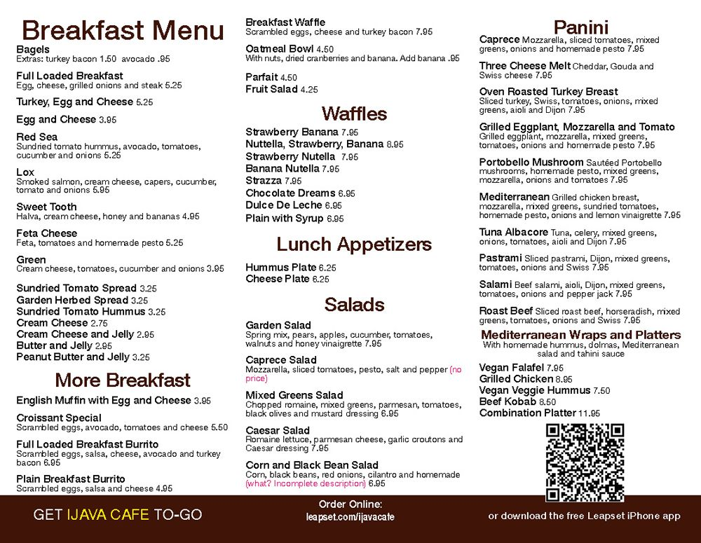 Restaurant To-Go Menu Graphic Design Services for Coffee Cafe