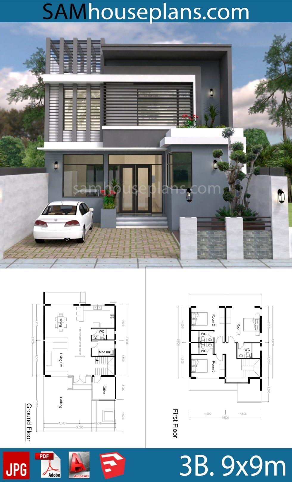 3 Bedroom Modern Home Plan 9x9m Sam House Plans Architectural House Plans Modern House Floor Plans Modern House Plans