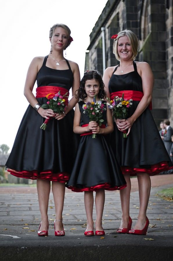 Bridesmaids In Black 50s Style Dresses Boho Weddings For The Boho Luxe Bride Black Bridesmaid Dresses Black Red Wedding Black Wedding Dresses