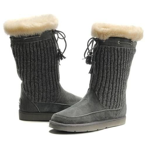 UGG Suburb Crochet 5733 Knit Gray Boots For Women