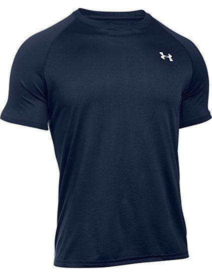 Under Armour Men S Tech Short Sleeve T Shirt Midnight Navy White X Small Mens Gym Tops Under Armour T Shirts Tech T Shirts