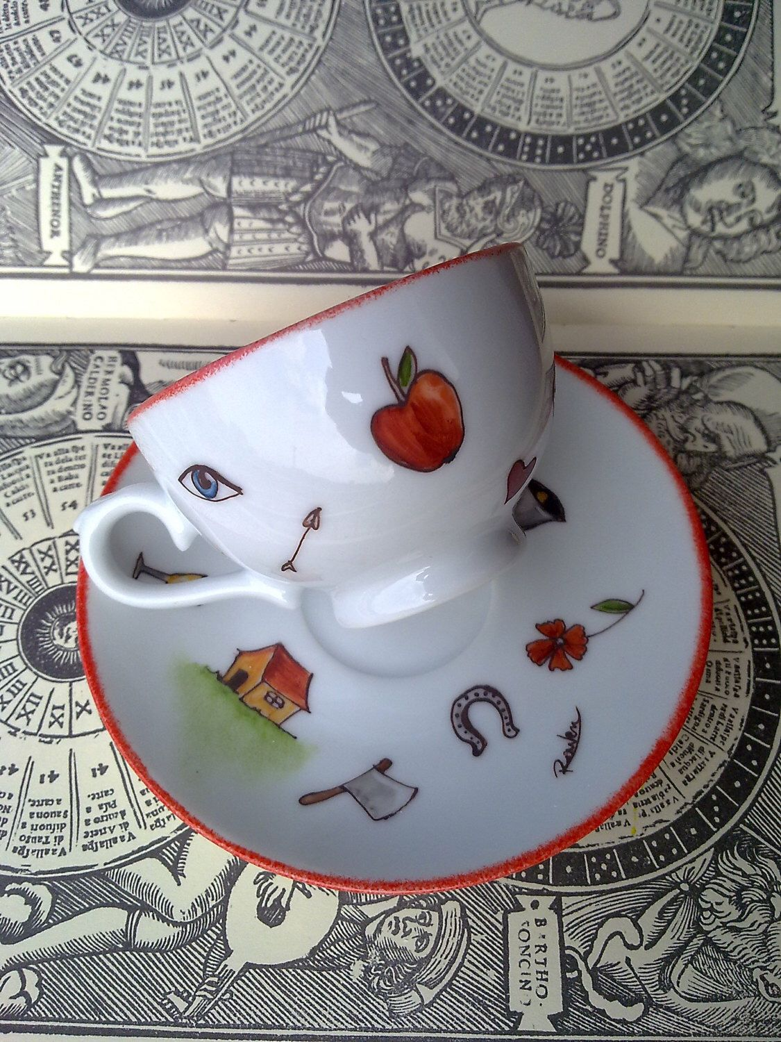 Fortune telling coffee cup with good luck symbols witchcraft fortune telling coffee cup with good luck symbols witchcraft symbols hand painted biocorpaavc Choice Image