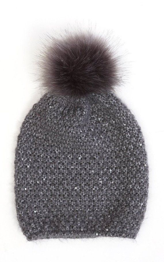 grey sequin knit hat pompom hat pompom beanie  ecf38bc7ab7