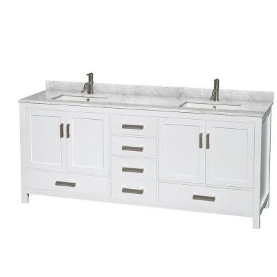 Wyndham Collection Sheffield 80 In Double Vanity In White With Marble Vanity Top In Carrara White Wcs141480dwhcmunsmxx White Vanity Bathroom Marble Vanity Tops Bathroom Sink Vanity