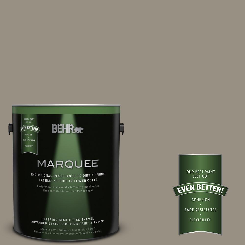 BEHR MARQUEE 1-gal. #N320-5 Gray Squirrel Semi-Gloss Enamel Exterior Paint