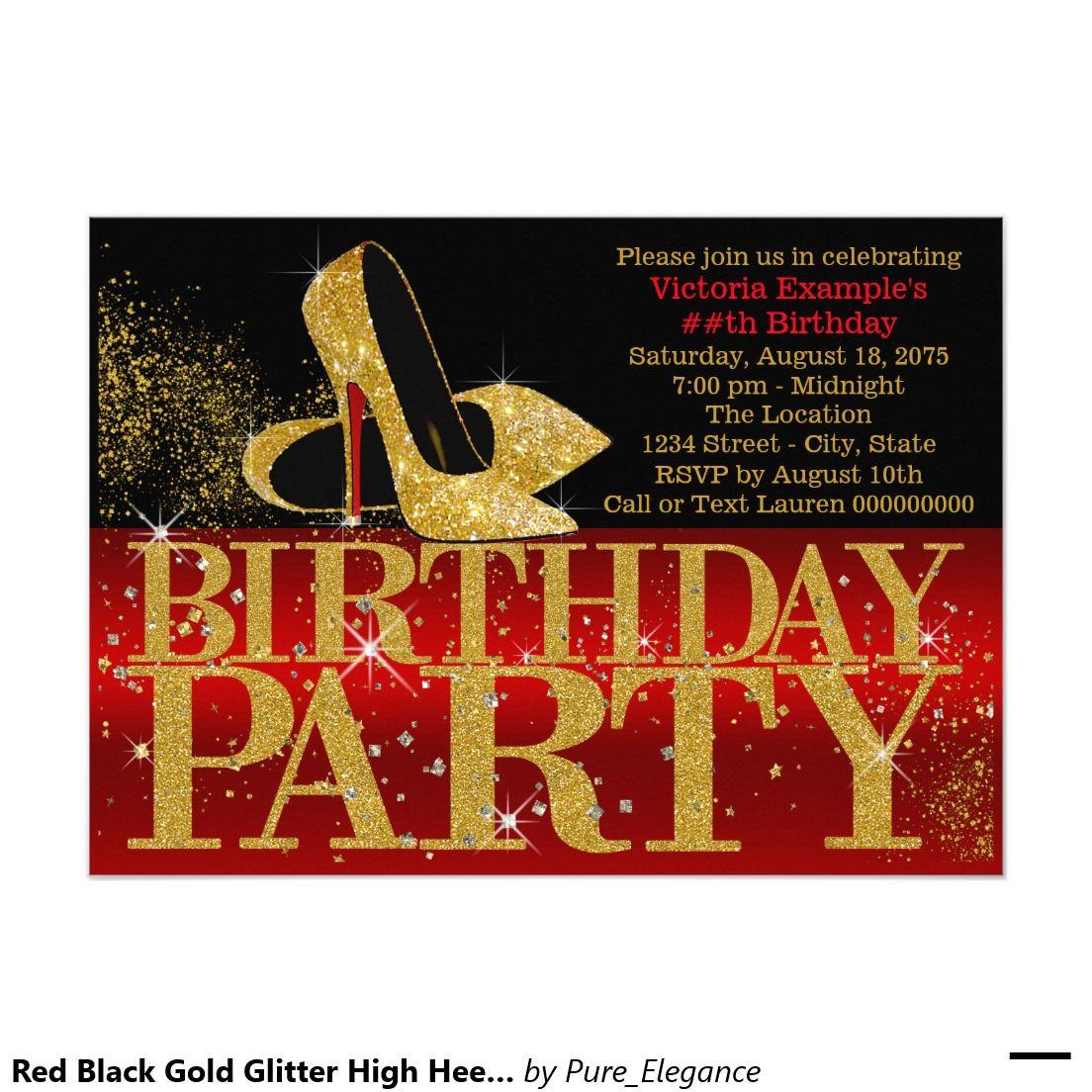 Red Black Gold Glitter High Heel Birthday Party Invitation | High ...
