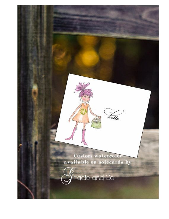 Custom personalized girl notecard pink hair by gracieandco on Etsy, $17.50