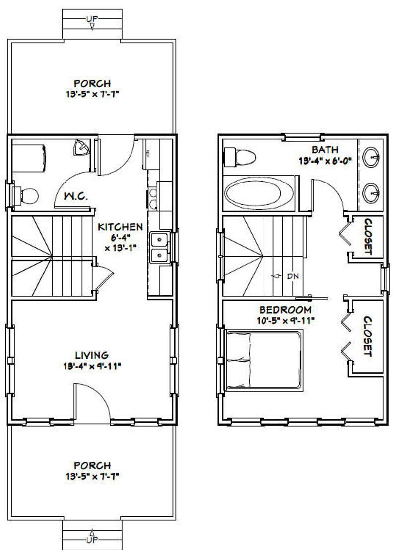 14x24 House 1 Bedroom 1 5 Bath 597 Sq Ft Pdf Floor Etsy In 2020 House Floor Plans House Plans Tiny House Floor Plans