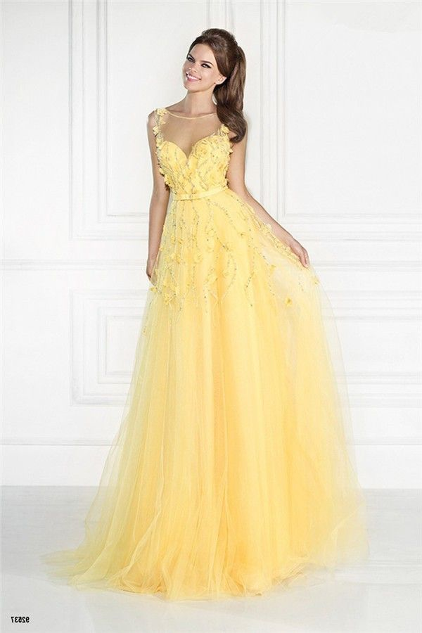 e2b295bd2c8 Illusion Neckline Sleeveless Long Yellow Tulle Beaded Prom Dress With  Flowers