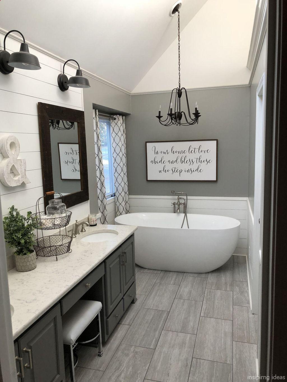 cute farmhouse modern style bathroom. Free standing tub