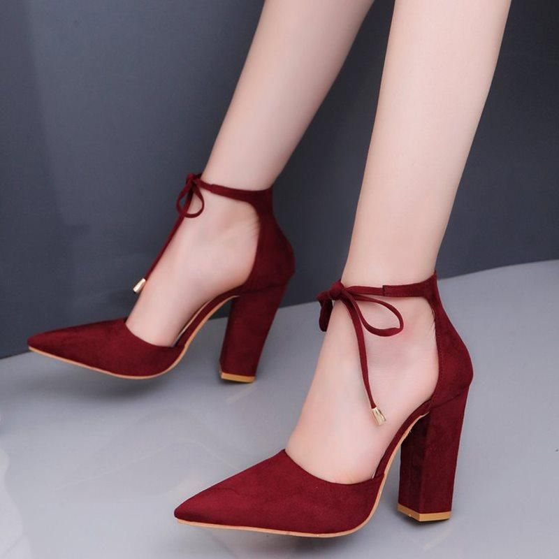 de13dec46606 Lace-Up Pointed Toe Chunky Heel 9cm Casual Thin Shoes