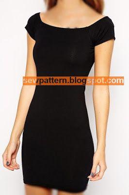 Sew Pattern باترون مفصل لفستان اسود قصير Black Short Dress Dresses With Sleeves Short Sleeve Dresses