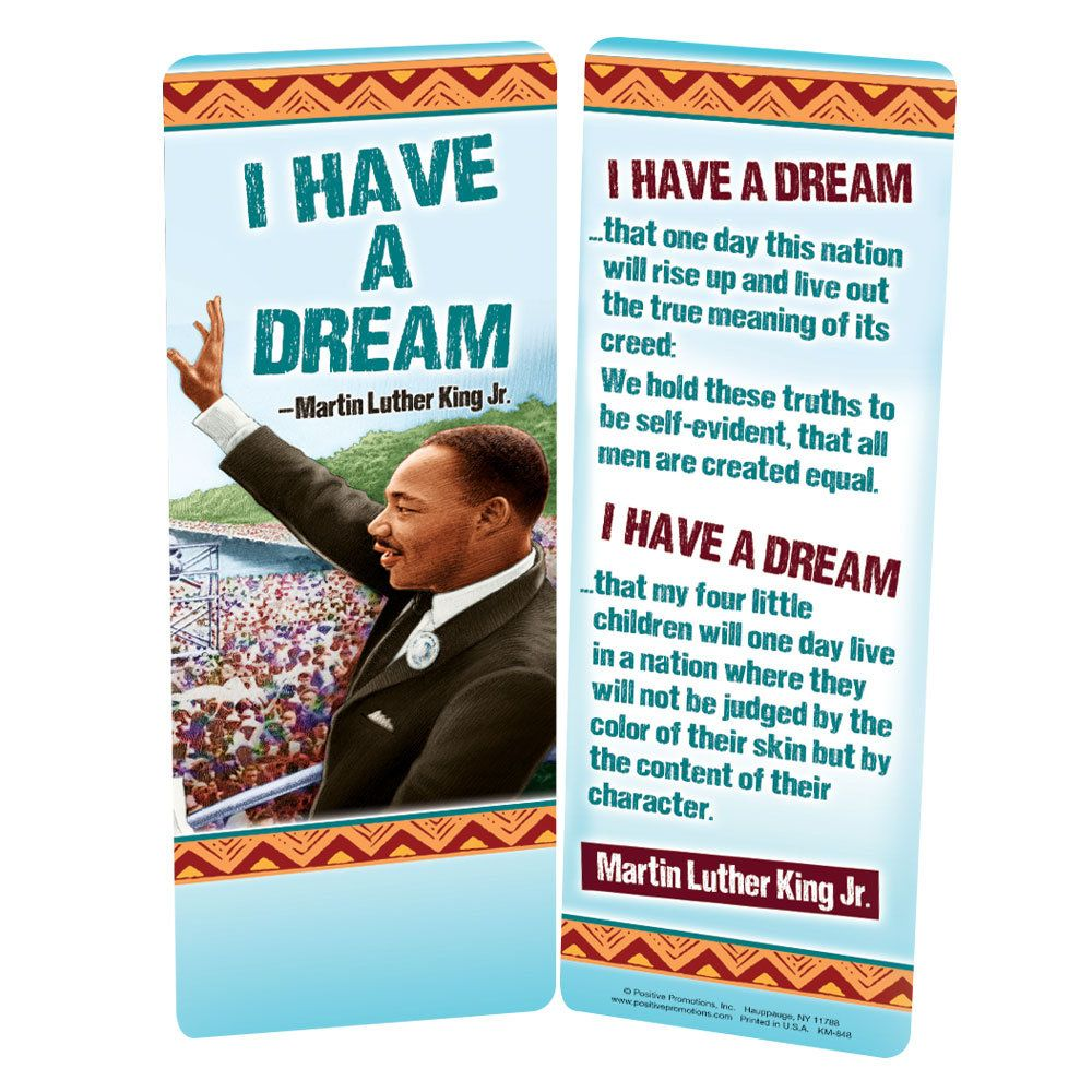 Martin Luther King Jr I Have A Dream Bookmark Positive