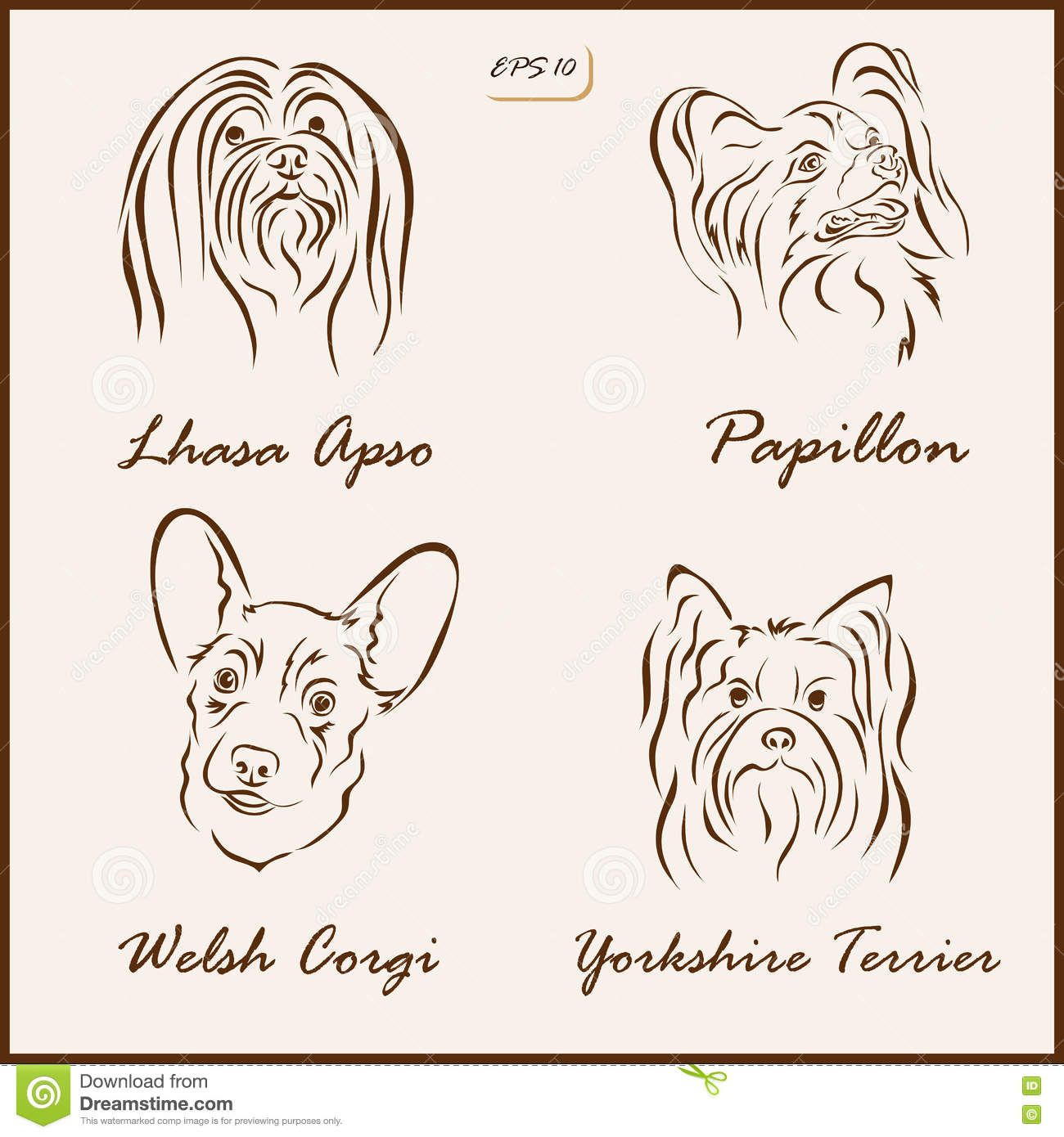 Dog Breeds Set Vector Illustration Shows Lhasa Apso Papillon Welsh Corgi Yorkshire Terrier 73540535 Jpg 1300 Papillon Dog Yorkshire Terrier Animal Silhouette [ 1390 x 1300 Pixel ]