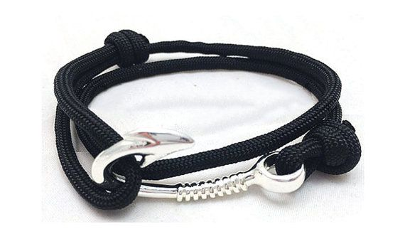 Paracord Black Bracelet Fish Hook Nautical Parachute