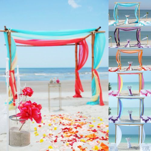 5m 10m Sheer Organza Fabric Beach Wedding Ceremony Bouquet: Tecido Organza 5m/10m Sheer Praia Cerimônia De Casamento