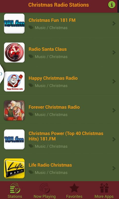 List of Christmas Radio stations Radio station