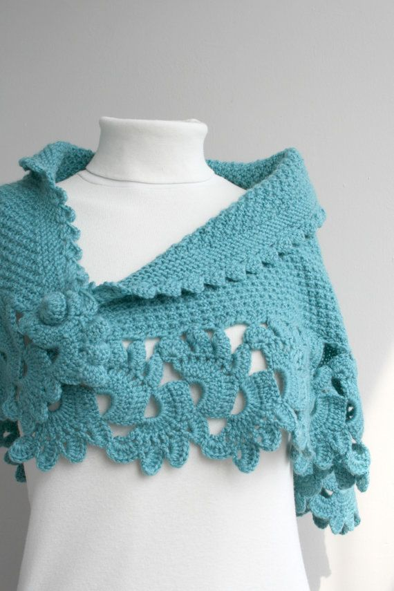 Hand Knitted Turquoise Capelet / Shawl / Handmade / Gift for her ...