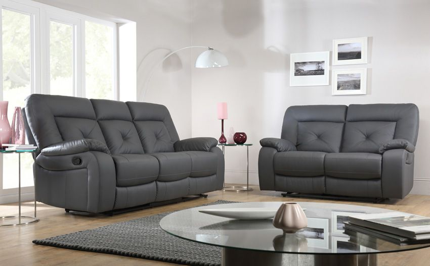 Hanover Grey Leather Recliner Sofa