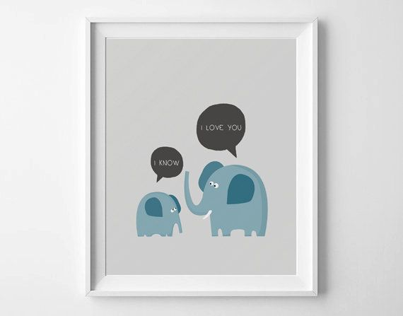 Nursery printable, Elephant wall art, kids room decor, Nursery art, Baby's birthday gift, I love you print, Elephant nursery, kids art