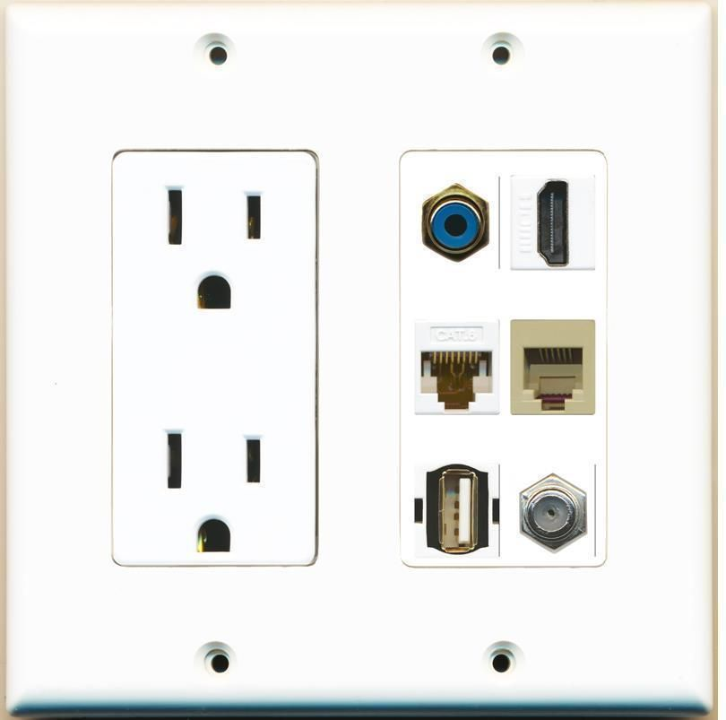 2 Gang 15a Power Outlet Rca Hdmi Cat6 Phone Usb Coax Cable Coupler Wall Plate Plates On Wall Power Outlet Hdmi