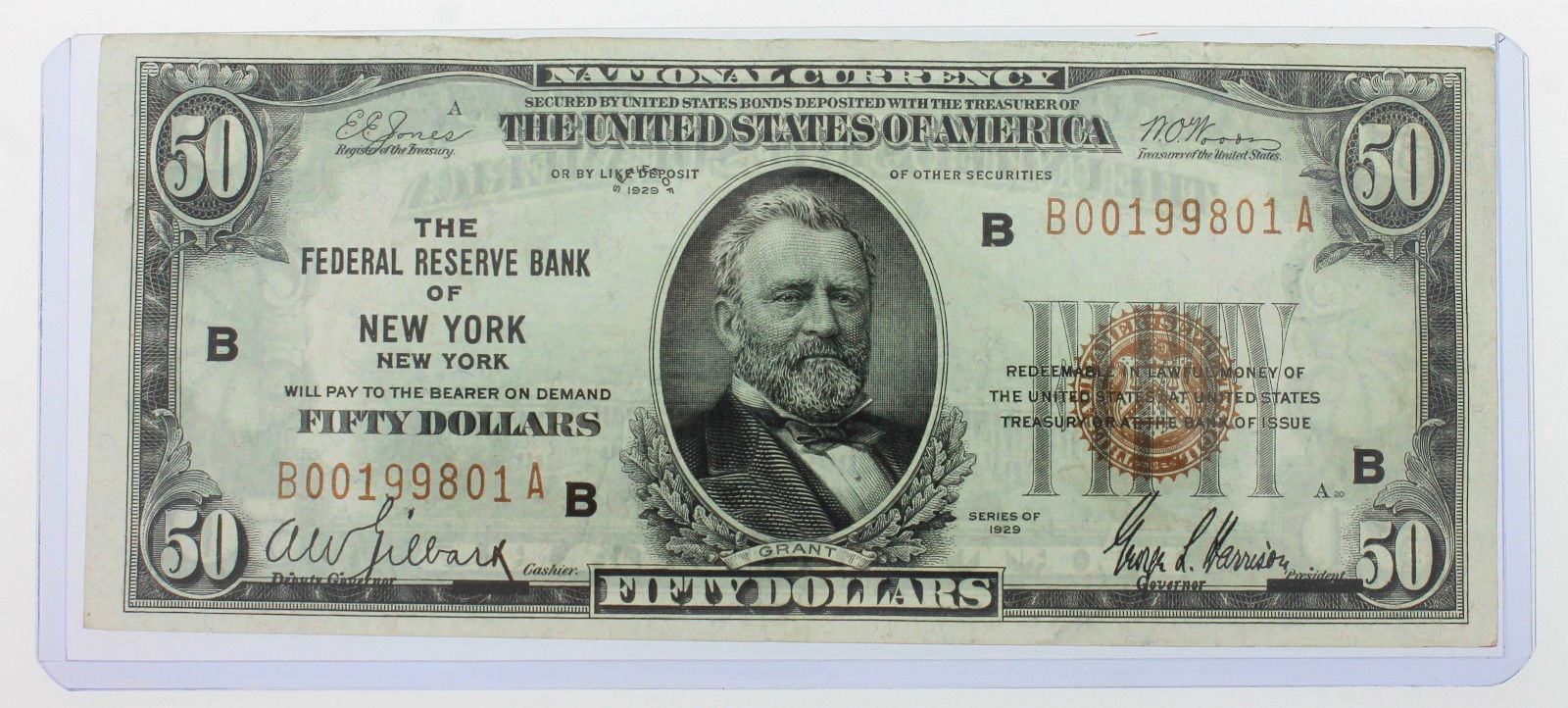1929 National Currency Grant 50 Fifty Dollar Bill New York You