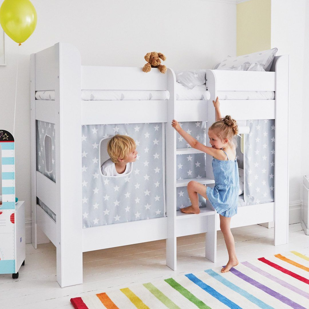 Paddington Bunk Bed with Grey Star Play Curtains in 2020