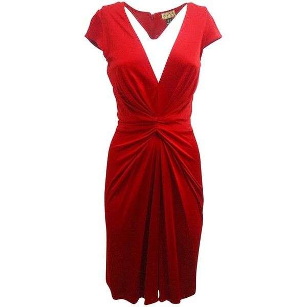 Pre-owned Cocktail dress ($235) ❤ liked on Polyvore featuring dresses, red, red cocktail dress, short sleeve dress, short-sleeve dresses, red short sleeve dress and red dress