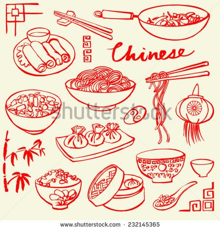 Chinese Food Icons Vector Doodle Set Food Icons Chinese Food
