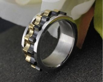 Chain spinner ring Men, moving gear ring, gear spinner ring, mens ...