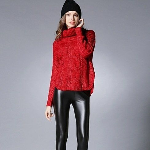 Womens Cable Knit Turtle Neck Sweater