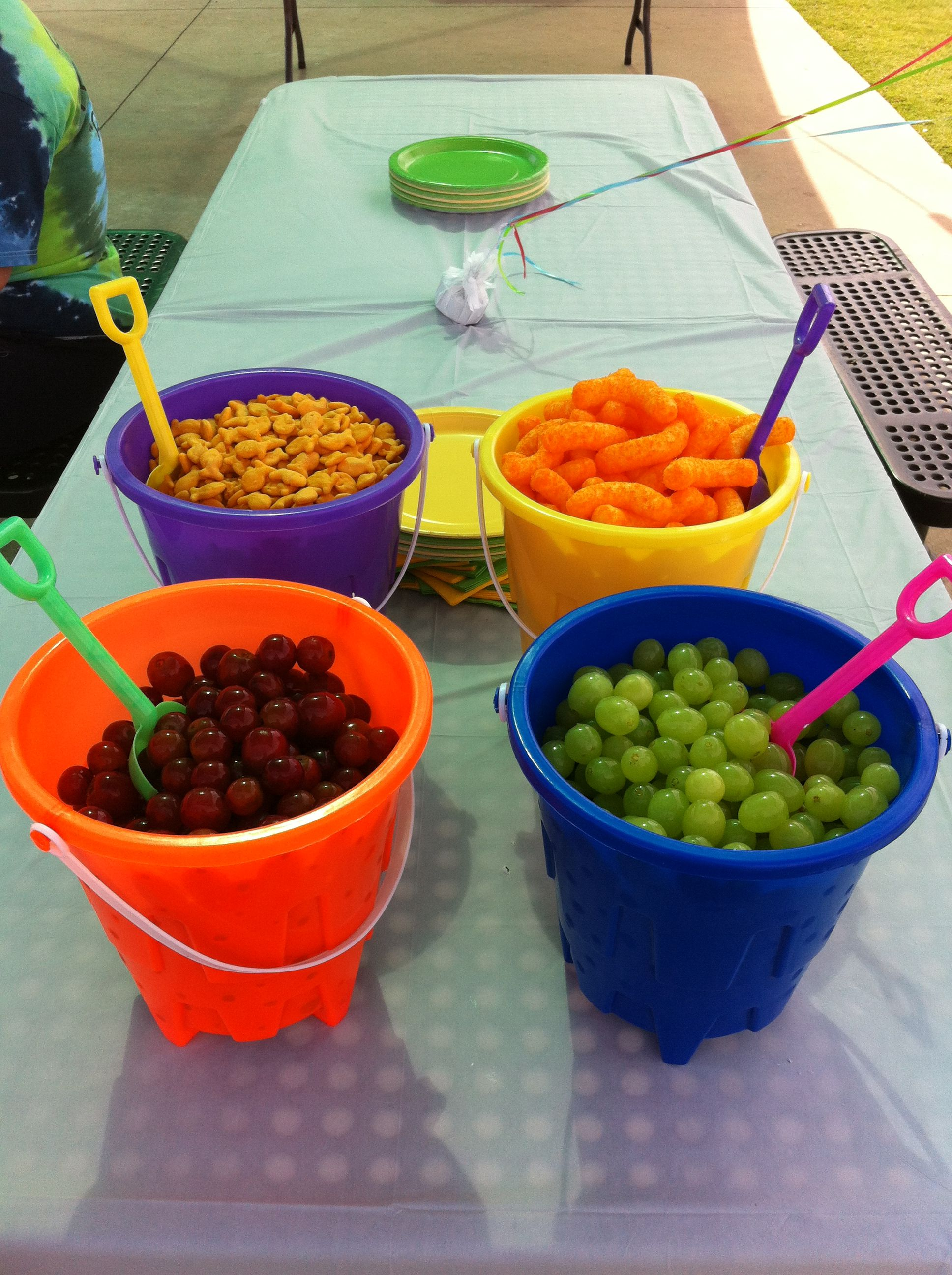Summer birthday food served in sand buckets purchased for Summer party menu ideas