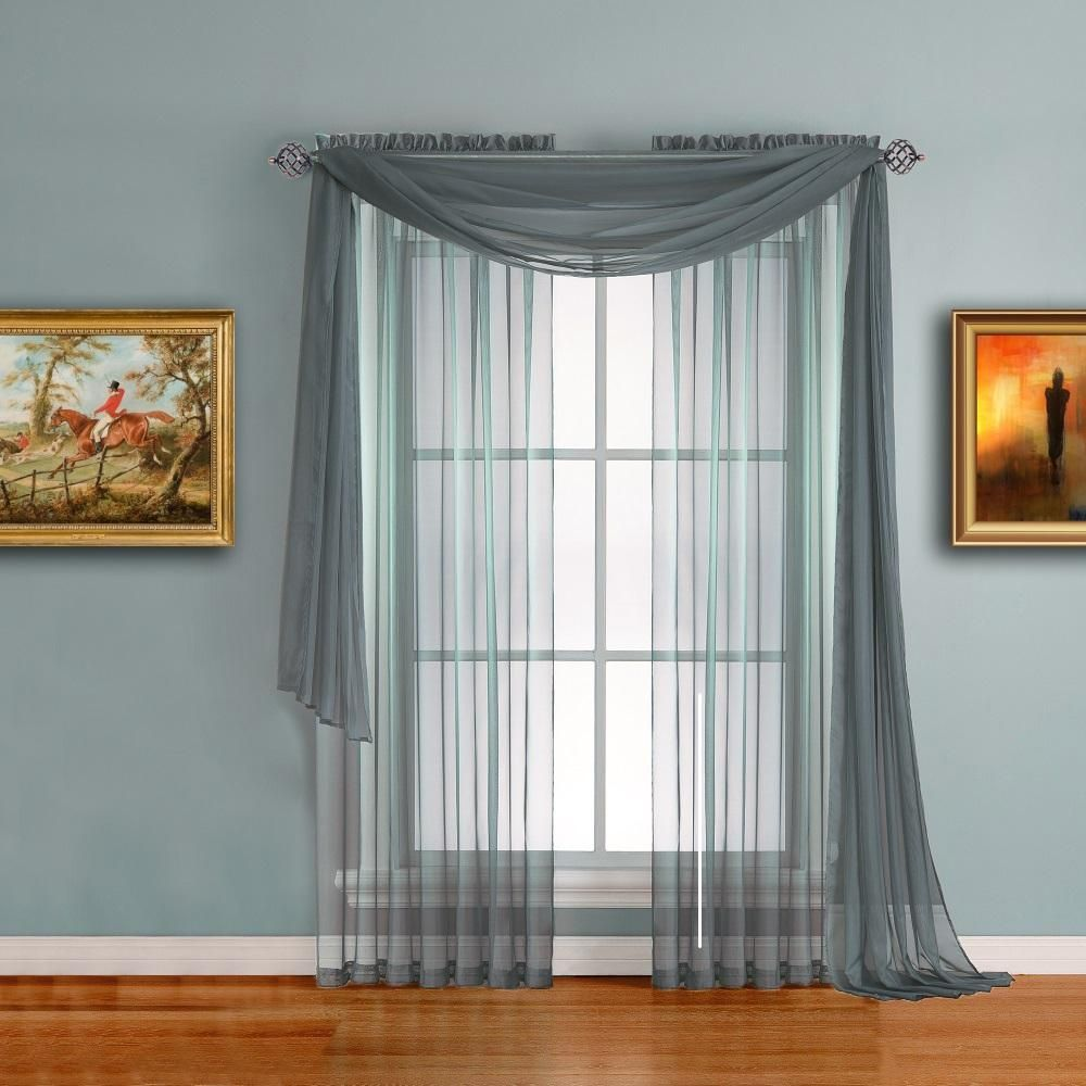 Warm Home Designs Pair Of Dusty Blue Sheer Curtains Or