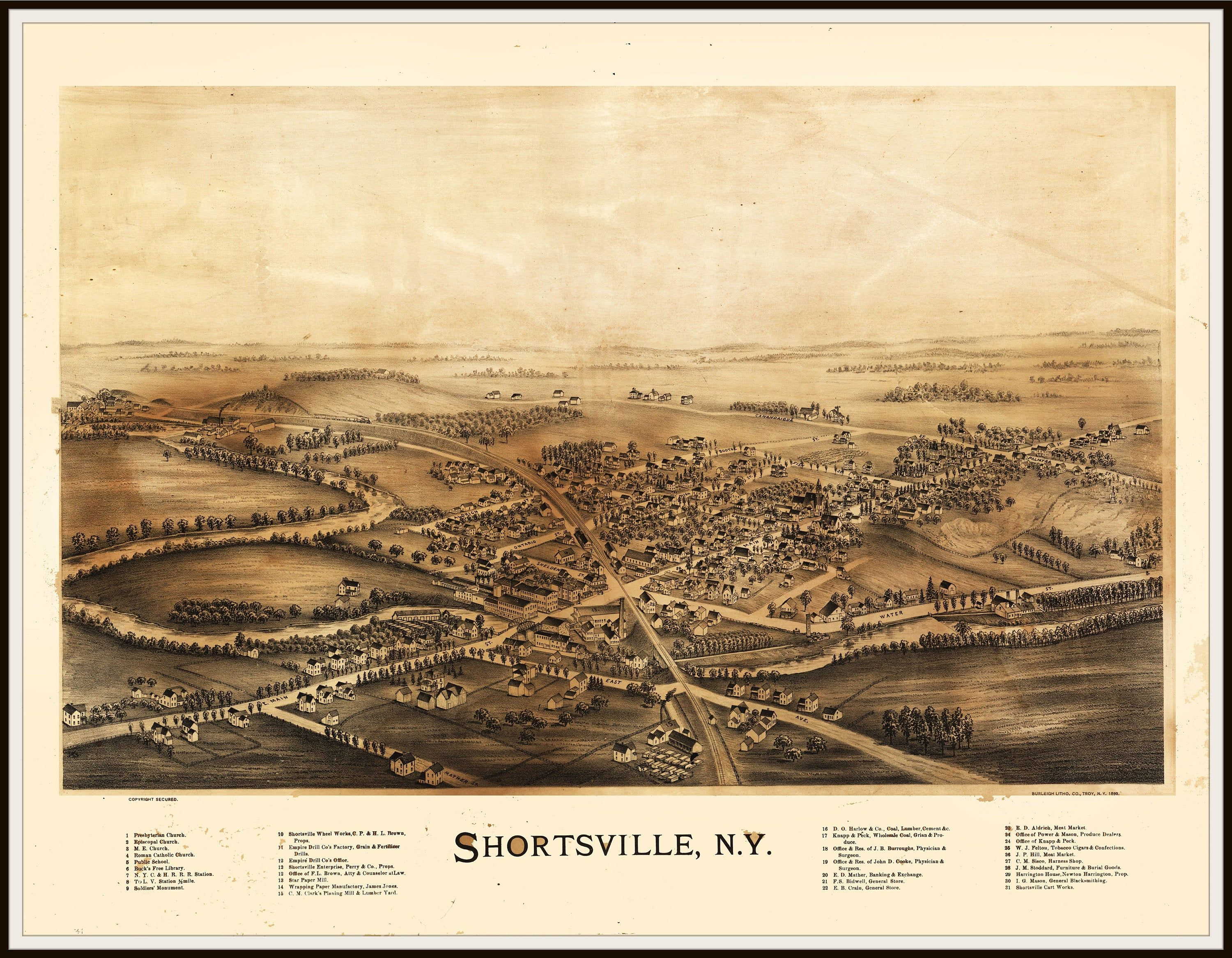 Shortsville Ny Panoramic Map This Print Is A Wonderful Wall Etsy Panoramic Map Birds Eye View Map Vintage Maps Art