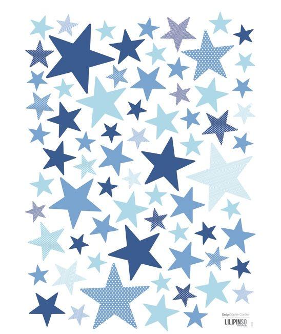 Etoiles bleu vifs - Stickers chambre bébé garçon 3 Pinterest - stickers chambre bebe garcon pas cher