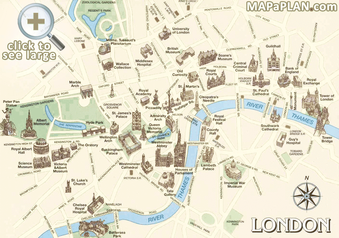 London top tourist attractions map Must see historical ...
