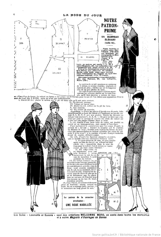 La Mode du jour. [1925/10/08   patterns & tutorials 1920\'s ...