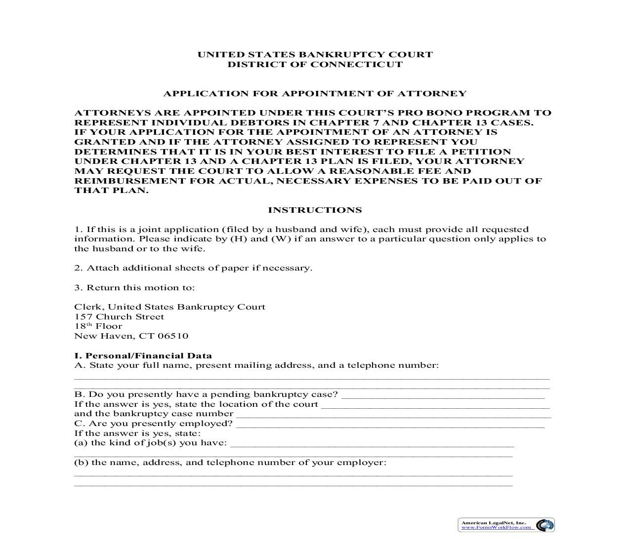 This is a Connecticut form that can be used for Bankruptcy