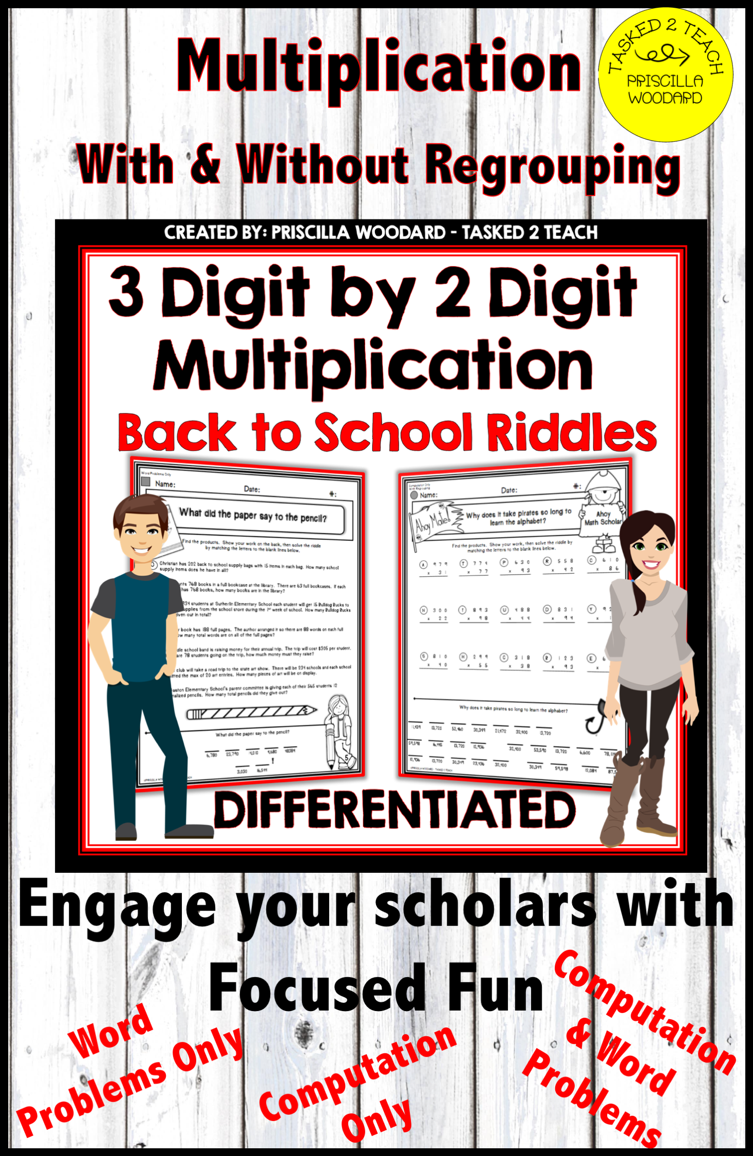 3 Digit By 2 Digit Multiplication Back To School Theme
